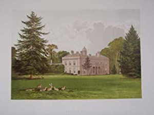 An Original Antique Woodblock Colour Print Illustrating Brockley Hall in Gloucestershire, from Th...