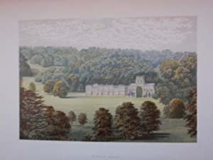 An Original Antique Woodblock Colour Print Illustrating Milton Abbey in Dorsetshire from The Pict...