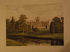 An original antique woodblock colour print illustrating Toddington Park Gloucestershire from The ...
