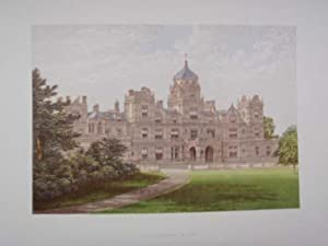 . An original antique woodblock colour print illustrating Westonbirt House in Glouc from The Pict...