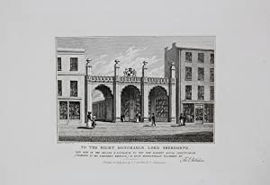 Antique Engraved Print Illustrating The Arcade & Entrance to the New Market House in Cheltenham, ...