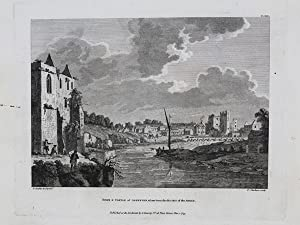 Original Antique Engraving Illustrating a View of 'Town and Castle of Askeyton, Taken from the Ru...