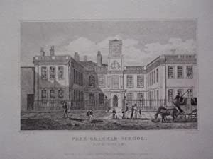 Original Antique Engraving Illustrating the Free Grammar School, Birmingham, in Warwickshire. ...