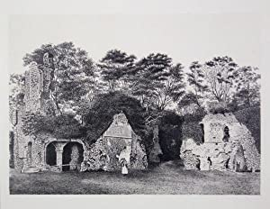 Original Antique Photo Lithograph Illustrating Sherborne Castle Ruins in Dorset. Published By J.P...