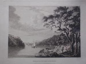 Original Antique Engraving Illustrating a View of Dromana the Seat of Lord Grandison, on the Rive...
