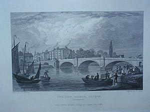 Fine Original Antique Engraving Illustrating The New Bridge,Totnes , Devonshire. Published in 1830....