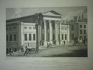 Fine Original Antique Engraving Illustrating Court House, Leeds in Yorkshire, Published in 1829.: ...