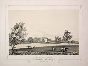 Fine Original Antique Lithograph Illustrating Ashton Lodge in Lancashire, the Seat of James Pedde...