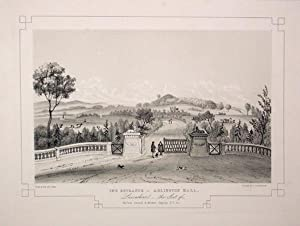 Fine Original Antique Lithograph Illustrating The Entrance to Adlington Hall in Lancashire, The S...