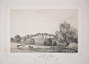 Fine Original Antique Lithograph Illustrating Clifton Hall in Lancashire, The Seat of Miss Gillow.