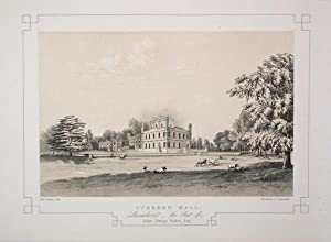 Fine Original Antique Lithograph Illustrating Cuerden Hall in Lancashire, The Seat of Robert Town...