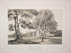Fine Original Antique Lithograph Illustrating Downham Hall in Lancashire, The Seat of William Ass...
