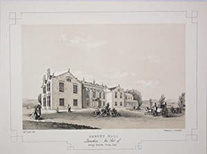Fine Original Antique Lithograph Illustrating Emmott Hall in Lancashire, The Seat of George Emmot...