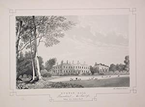 Fine Original Antique Lithograph Illustrating Euxton Hall in Lancashire, The Seat of William Ince...