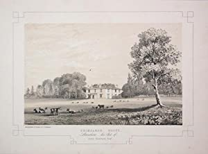Fine Original Antique Lithograph Illustrating Grimsargh House in Lancashire, The Seat of James Bl...
