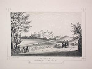 Fine Original Antique Lithograph Illustrating Heysham Hall in Lancashire, The Seat of Thomas Raws...