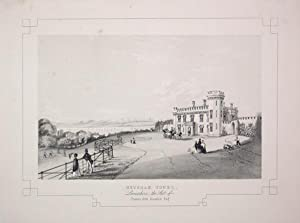 Fine Original Antique Lithograph Illustrating Heysham Tower in Lancashire, The Seat of Thomas Joh...