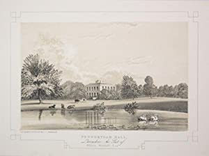 Fine Original Antique Lithograph Illustrating Penwortham Hall in Lancashire, The Seat of William ...