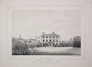 Fine Original Antique Lithograph Illustrating Raikes Hall in Lancashire, The Seat of Daniel Hornb...