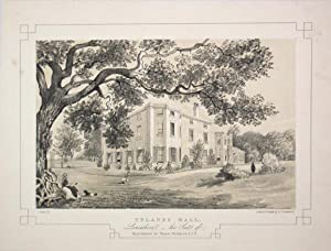 Fine Original Antique Lithograph Illustrating Uplands Hall in Lancashire, The Seat of Major Gener...