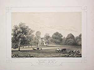 Fine Original Antique Lithograph Illustrating Walton Lodge in Lancashire, The Seat of William Cal...