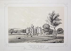 Fine Original Antique Lithograph Illustrating Whittington Hall in Lancashire, The Seat of Thomas ...