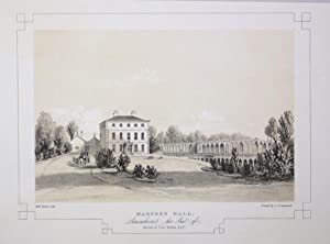 Fine Original Antique Lithograph Illustrating Marsden Hall in Lancashire, The Seat of The Late R....