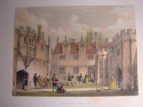 A Fine Original Hand Coloured Lithograph Illustration of Athelhampton, Dorsetshire from The Mansi...