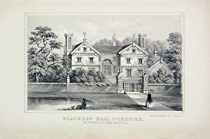 Original Antique Lithograph Illustrating Blackden Hall, Chester. The Property of James Arden, Esq. ...