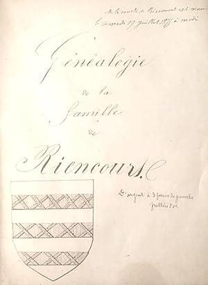 Généalogie de la Famille de RIENCOURT.: GENEALOGIE;