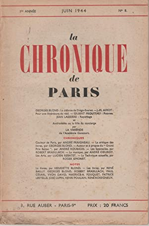 La Chronique de Paris N° 1 à 9