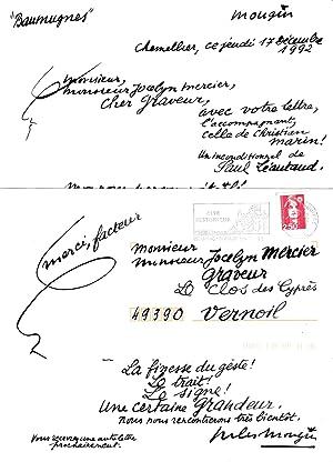 Lettre à Odile et Jocelyn Mercier (peintre,: ART BRUT) MOUGIN