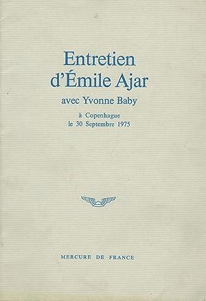 Entretien d Émile Ajar avec Yvonne Baby à: AJAR Emile (Romain