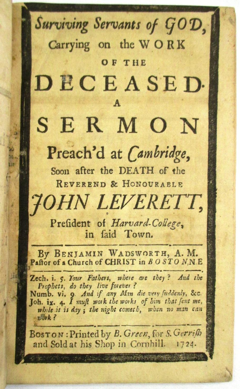 THREE FUNERAL SERMONS PREACH'D AT CAMBRIDGE,