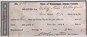 NO. 251. STATE OF MISSISSIPPI, ADAMS COUNTY. RECEIVED FROM EST. OF JANE GILLASPIE ONE DOLLARS 87 ...