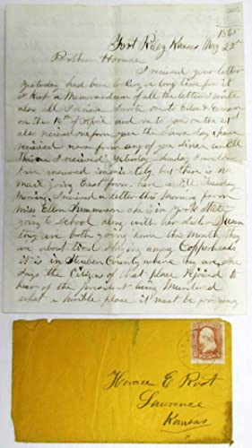 MANUSCRIPT LETTER, PURPORTING TO BE WRITTEN AND SIGNED, FORT RILEY, KANSAS, MAY 22, 1865, TO HIS ...