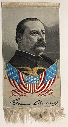 GROVER CLEVELAND RIBBON, PORTRAIT ON SILK WITH FRINGED BOTTOM AND COLOR PORTRAIT OF AMERICAN FLAG