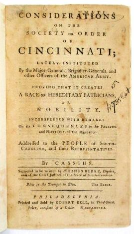 CONSIDERATIONS ON THE SOCIETY OR ORDER OF CINCINNATI; LATELY INSTITUTED BY THE MAJOR-GENERALS, BR...