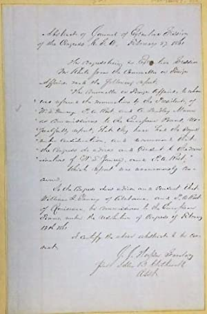 MANUSCRIPT ABSTRACT OF JOURNAL OF EXECUTIVE SESSION OF THE CONGRESS, C.S.A., FEBRUARY 27, 1861. C...