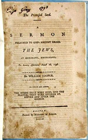 THE PROMISED SEED. A SERMON PREACHED TO GOD'S ANCIENT ISRAEL THE JEWS, AT SION CHAPEL, WHITECHAPE...