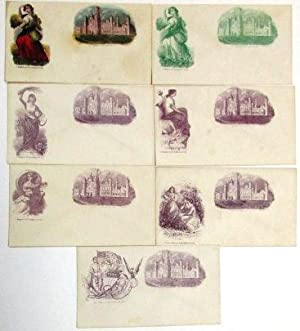 SEVEN UNUSED POSTAL COVERS, DEPICTING FEMALE ALLEGORICAL FIGURES ON THE LEFT, THE SMITHSONIAN INS...