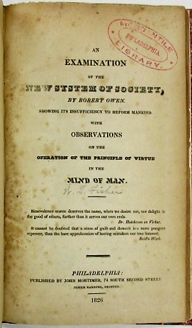 AN EXAMINATION OF THE NEW SYSTEM OF SOCIETY, BY ROBERT OWEN, SHOWING ITS INSUFFICIENCY TO REFORM ...