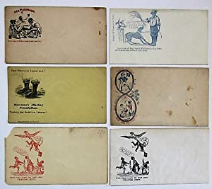 SIX UNUSED UNION POSTAL COVERS WITH CARICATURED IMAGES OF SLAVES;