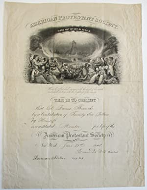 DOCUMENT SIGNED, BY THOMAS DE WITT, PRESIDENT OF THE AMERICAN PROTESTANT SOCIETY, AND HERMAN NORT...