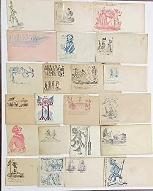 COLLECTION OF TWENTY-TWO PRO-UNION CIVIL WAR PATRIOTIC POSTAL COVERS, ALL WITH CARICATURES OF PEOPLE