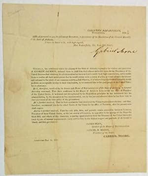EXECUTIVE DEPARTMENT, TUSCALOOSA, 1830. SIR- I FORWARD TO YOU THE FOLLOWING DOCUMENT, IN PURSUANC...