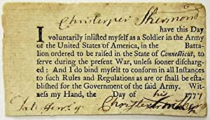 I [CHRISTOPHER SHERMAN] HAVE THIS DAY VOLUNTARILY INLISTED MYSELF AS A SOLDIER IN THE ARMY OF THE...