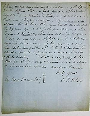 AUTOGRAPH LETTER SIGNED, OCTOBER 9, 1851, FROM THE OHIO DEMOCRATIC CONGRESSMAN TO WISCONSIN ...