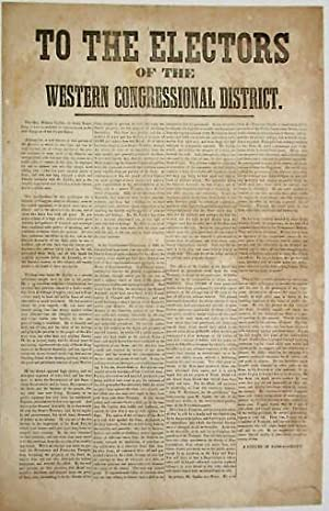 TO THE ELECTORS OF THE WESTERN CONGRESSIONAL DISTRICT. THE HON. WILKINS UPDIKE, OF SOUTH KINGSTOW...