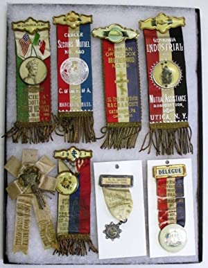 GROUP OF 19 BADGES AND RIBBONS FROM VARIOUS ETHNIC ORGANIZATIONS IN THE NORTHEAST, INCLUDING FREN...